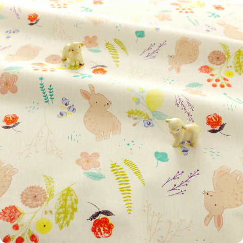 Woodland - white multicoloured bunny rabbit & flowers cotton fabric W:160cm FQ1804-27