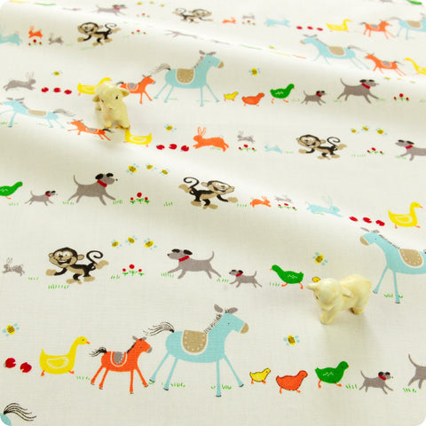 Farm - white multicoloured horses & chicken cotton fabric W:160cm FQ1804-28