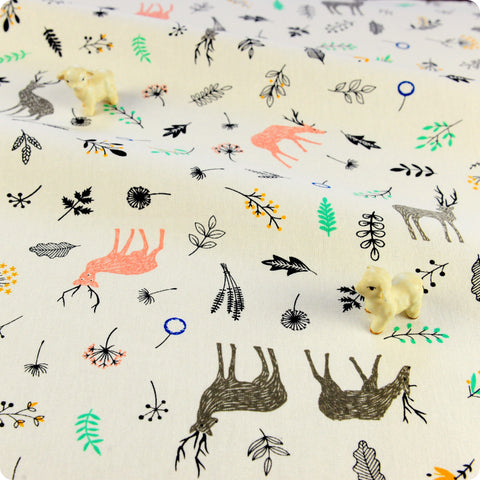 Zoo - cream multicoloured reindeer & leaves linen fabric W:140cm FQ1804-31