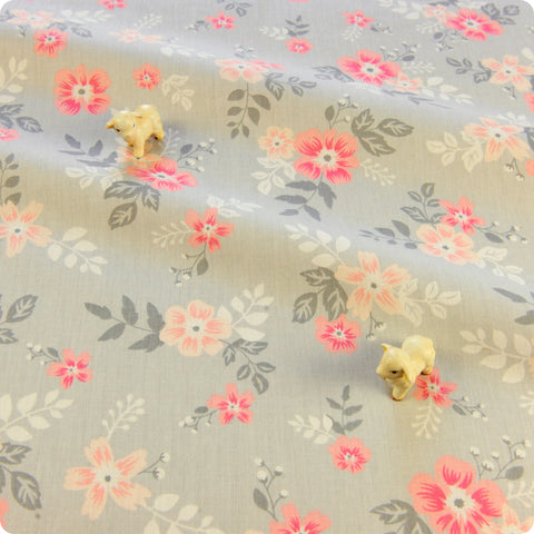 Flowers - grey & pink floral cotton fabric W:116cm FQ1804-36