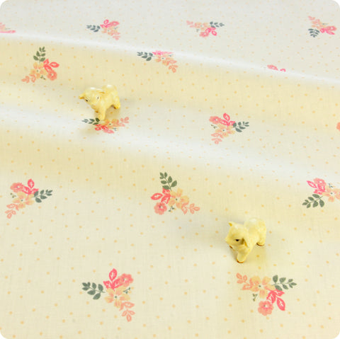 Flowers - pink & white floral & polka dots cotton fabric W:116cm FQ1804-37