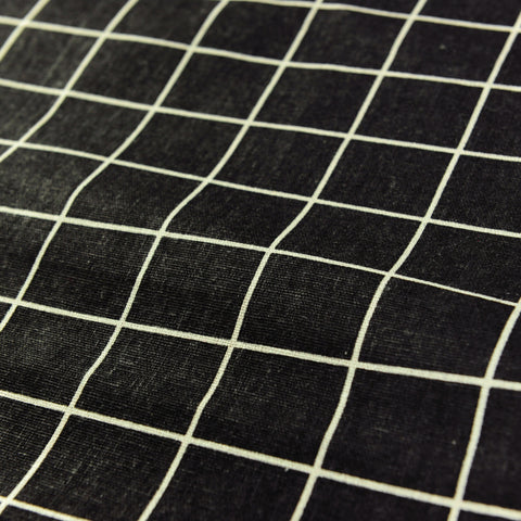 Checks - monochrome black & white check linen fabric W:150cm FQ1804-41