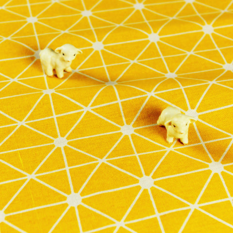 Geometric - yellow & white linen fabric W:150cm FQ1804-43