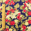 Japanese - navy gold & red metallic crane & flowers cotton fabric W:145cm FQ1807-01