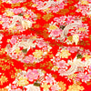 Japanese - red gold & pink metallic crane & flowers cotton fabric W:145cm FQ1807-02