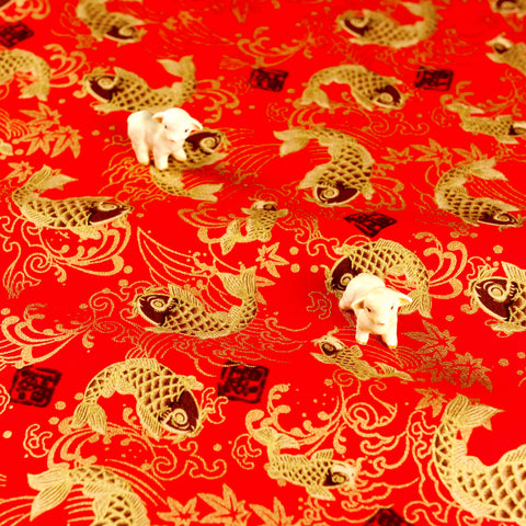 Japanese - red & gold metallic goldfish cotton fabric W:138cm FQ1807-04