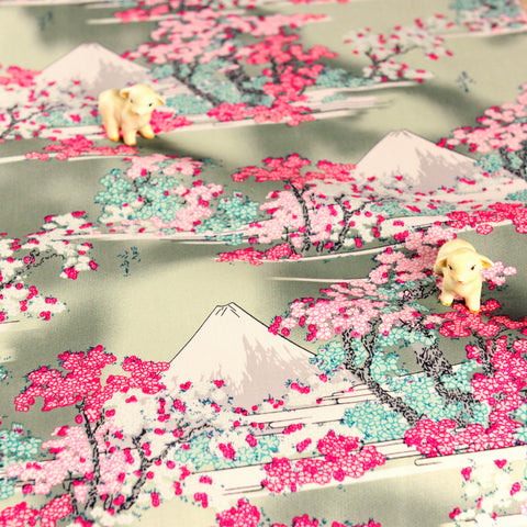 Japanese - pink mount Fuji & cherry blossom cotton fabric W:144cm FQ1807-07