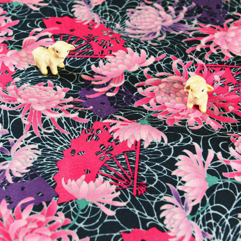 Japanese - pink & purple chrysanthemum flowers cotton fabric W:160cm FQ1807-08