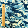 Japanese - blue tide sea waves cotton fabric W:140cm FQ1807-09