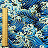 Japanese - blue & gold tide sea waves cotton fabric W:138cm FQ1807-10