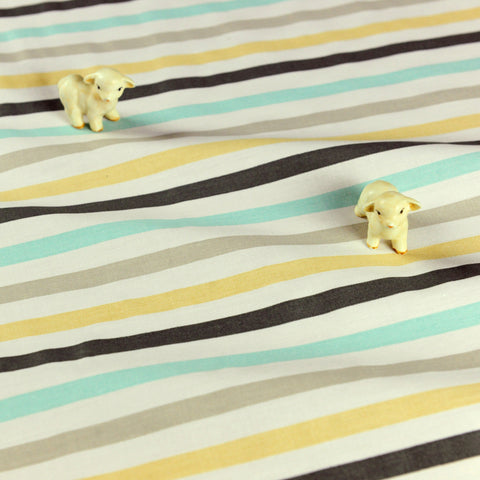 Stripe - blue yellow & grey 10mm stripes cotton fabric W:160cm FQ1807-13