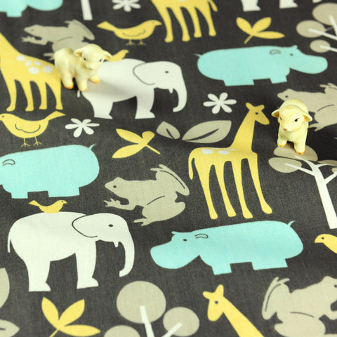 Zoo - green & grey animals cotton fabric W:160cm FQ1807-14