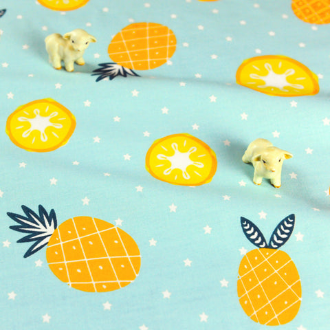 Fruit - blue & yellow lemon & pineapple stars cotton fabric W:160cm FQ1807-17