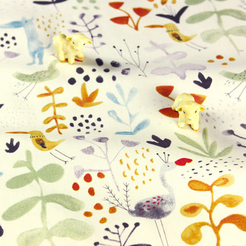 Woodland - white pastel watercolour animals cotton fabric W:160cm FQ1807-18