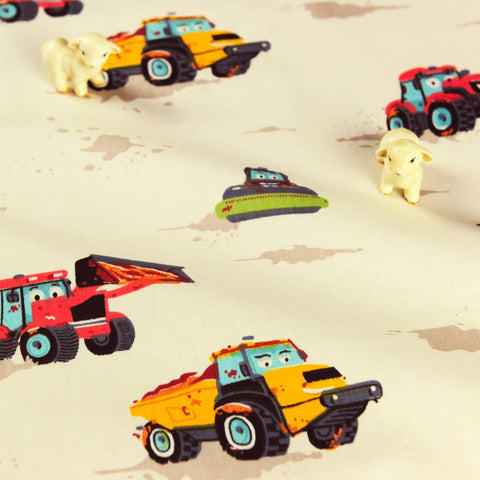 Woodland - white multicoloured tractors and trucks cotton fabric W:160cm FQ1807-19