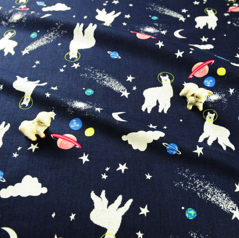 Zoo - blue navy astronaut llama cotton fabric W:145cm FQ1811-01