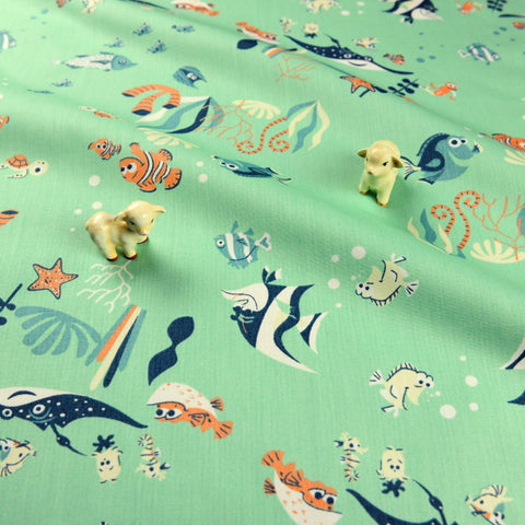 Zoo - blue tropical fish cotton fabric W:148cm FQ1811-07