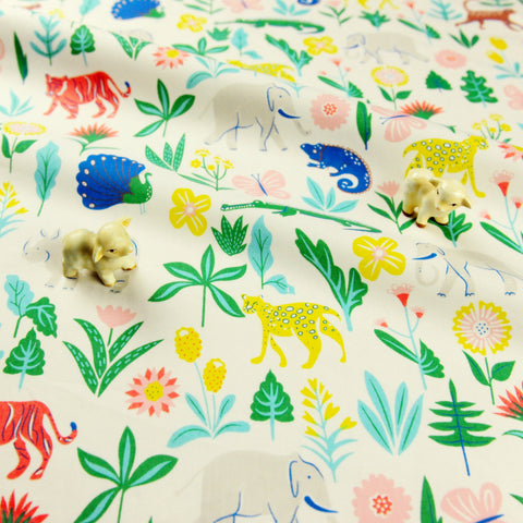 Zoo - white multicoloured elephant peacock & tiger jungle animals cotton fabric W:148cm FQ1811-08