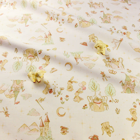 Woodland - cream bunny rabbit at picnic cotton fabric W:149cm FQ1811-09