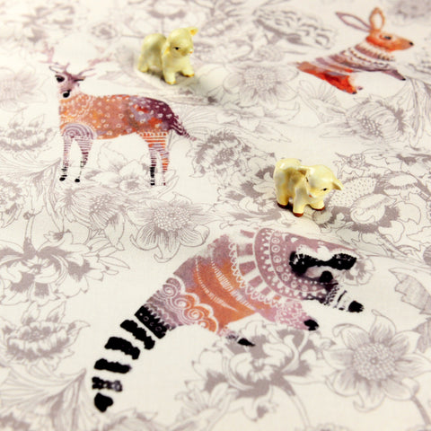 Zoo - grey raccoon & deer cotton flannel fabric W:148cm FQ1811-10