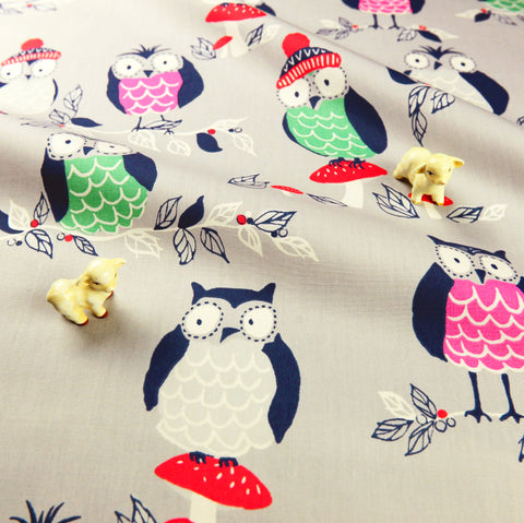 Owls - grey multicoloured winter birds cotton fabric W:146cm FQ1811-11