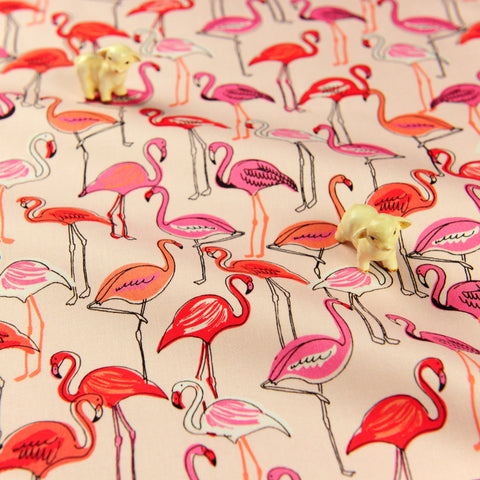 Birds - pink & orange flamingo stretchy cotton canvas fabric W:135cm FQ1811-13