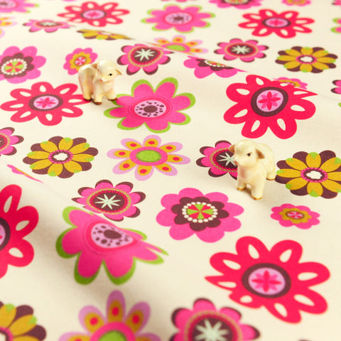 Bold floral - pink round flowers cotton canvas fabric W:148cm FQ1811-14