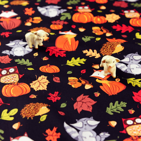 Halloween - orange & black foxes & pumpkins cotton fabric W:147cm FQ1811-17