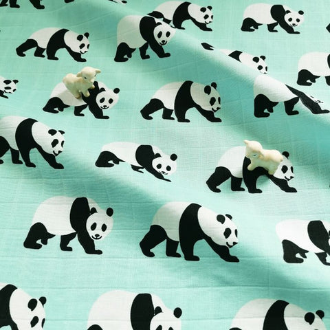 Zoo - blue pandas cotton fabric W:145cm FQ1811-18