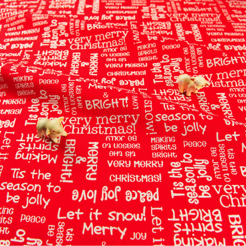 Christmas - red & white festival texts cotton fabric FQ1811-21