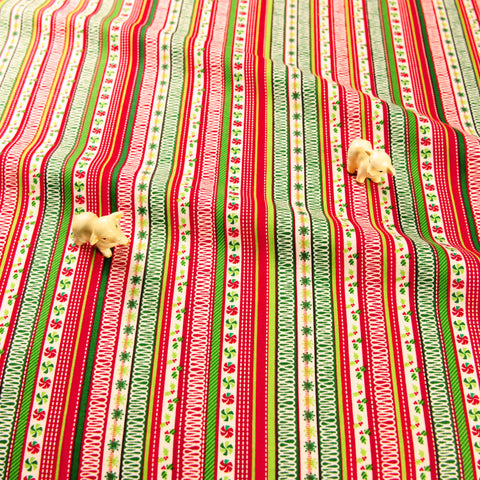Christmas - red & green candy stripes cotton fabric FQ1811-25
