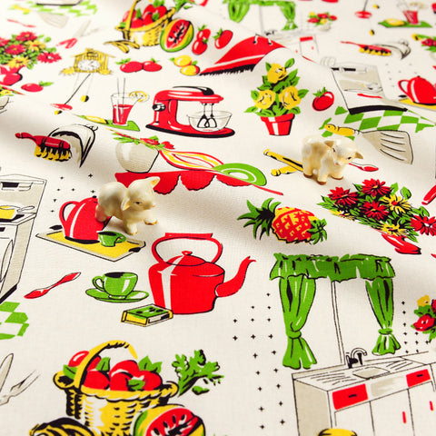 Christmas - red & green retro kitchen cotton fat quarter fabric FQ1811-27