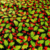 Christmas - black green holly leaf & red berry Pick cotton fabric