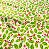 Christmas - white green holly leaf & red berry pick cotton fat quarter fabric FQ1811-33