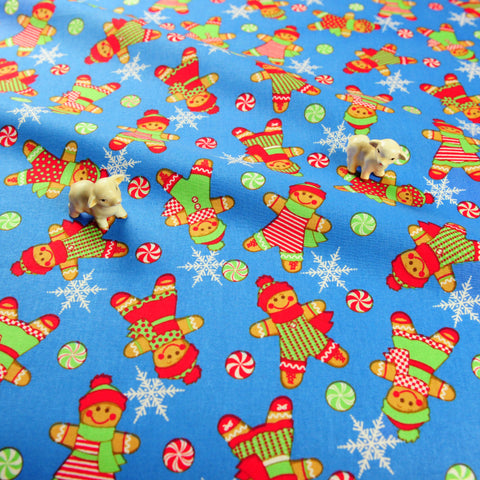 Christmas - blue retro gingerbread man cotton fat quarter fabric FQ1811-35