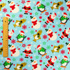 Christmas - blue & white snowman & Father Christmas cotton fabric FQ1811-36