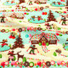 Christmas - blue multicoloured gingerbread house cotton fat quarter fabric FQ1811-38
