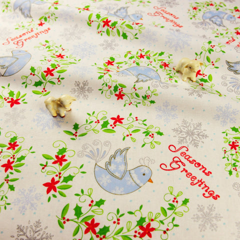Christmas - white season's greeting birds cotton fabric FQ1811-40