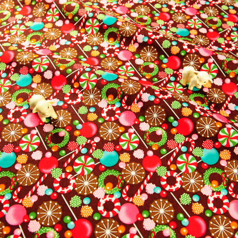 Christmas - brown multicoloured retro candy cotton fabric FQ1811-42