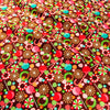 Christmas - brown multicolour retro candy cotton fabric FQ1811-42