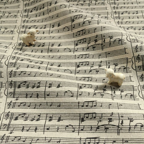 Sheet music print distressed natural hessian linen fabric FQ1606-11