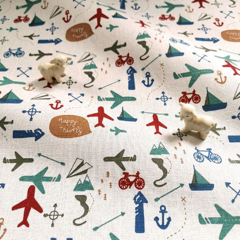 Transport - aircraft, bicycle & boats linen fabric W:145cm FQ1905-05