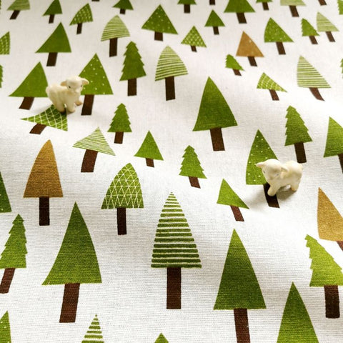 Christmas - green & beige Xmas tree prints linen fabric W:145cm FQ1905-06