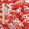 Japanese - red & orange metallic tide sea waves cotton linen fabric W:140cm FQ2006-04