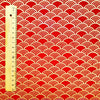 Japanese - red & gold metallic retro seigaiha wave cotton fabric W:144cm FQ2006-08