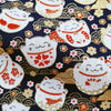 Japanese - blue navy metallic round lucky cats & clouds cotton fabric W:144cm FQ2006-12