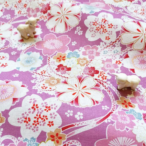 Japanese - purple gorgeous kimono flowers & ribbon linen fabric W:140cm FQ2006-10