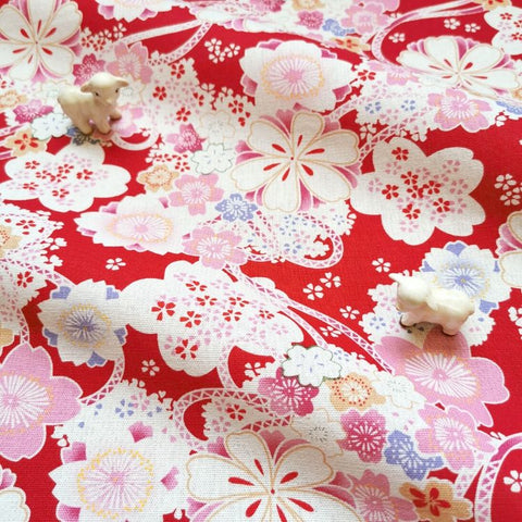 Japanese - red gorgeous kimono flowers & ribbon linen fabric W:140cm FQ2006-11
