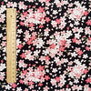 Japanese - black & pink mini flowers cotton fabric W:145cm FQ2006-15