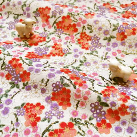 Japanese - cream & purple metallic cherry blossom flowers cotton fabric W:145cm FQ2006-18